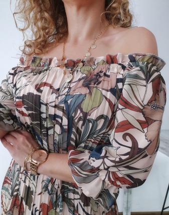 sukienka plisowana w kwiaty i liście 4