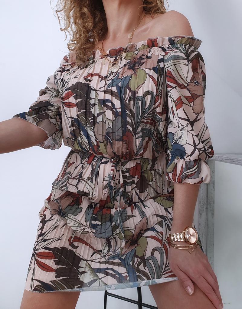 sukienka plisowana w kwiaty i liście 9