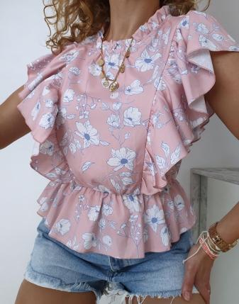 satynowa bluzka w kwiatki3