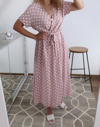 sukienka w groszki różowa 1