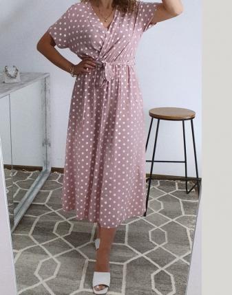 sukienka w groszki różowa 2