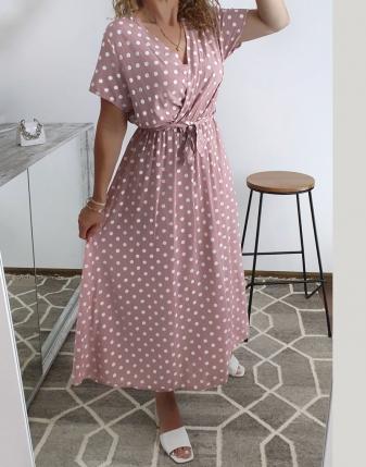 sukienka w groszki różowa 3