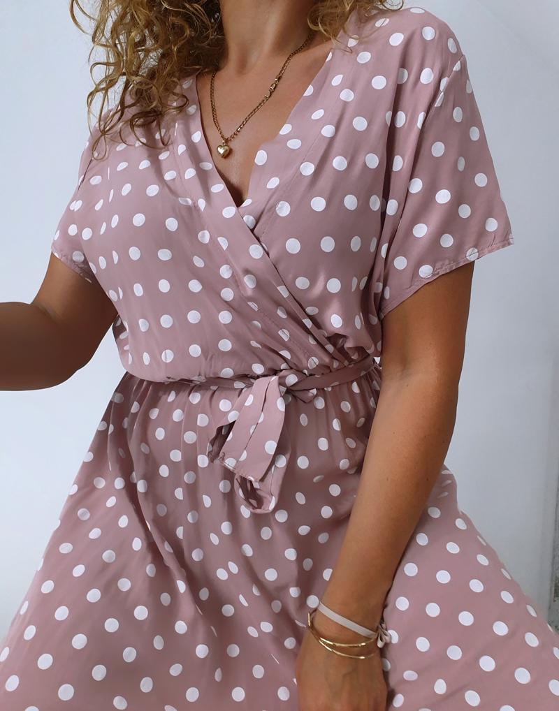 sukienka w groszki różowa 7