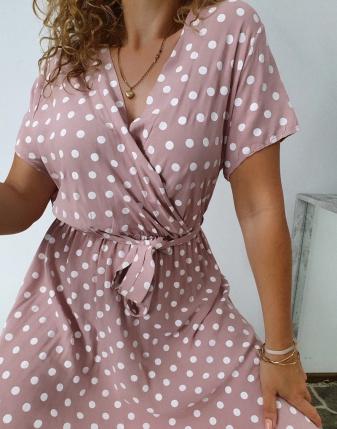 sukienka w groszki różowa 8