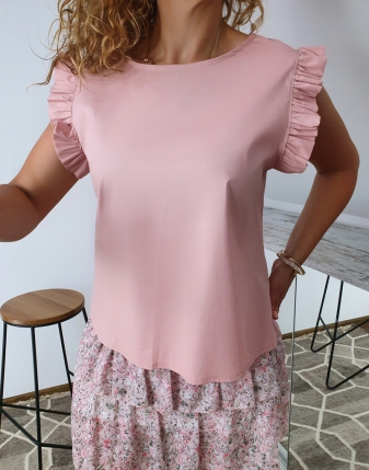 bluzka płócienna puder róż2