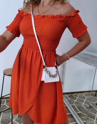 marszczona sukienka rdzawa