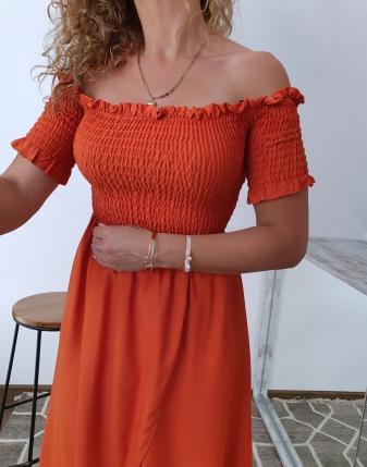 marszczona sukienka rdzawa 1