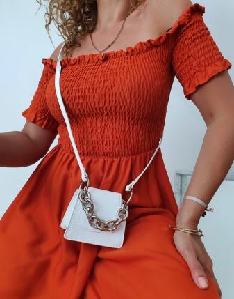 marszczona sukienka rdzawa 2