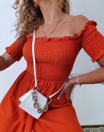 marszczona sukienka rdzawa 3