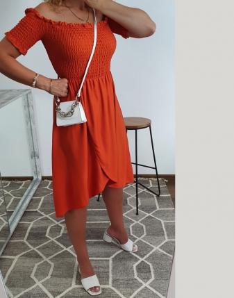 marszczona sukienka rdzawa 5