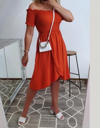 marszczona sukienka rdzawa 6