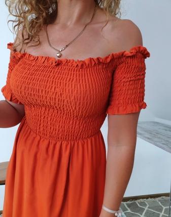 marszczona sukienka rdzawa 7