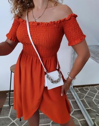 marszczona sukienka rdzawa 8