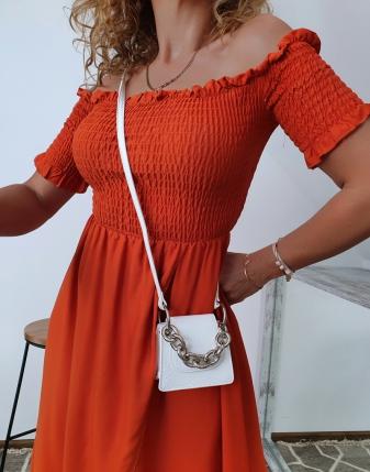 marszczona sukienka rdzawa 9