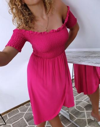 sukienka marszczona fuksja 1