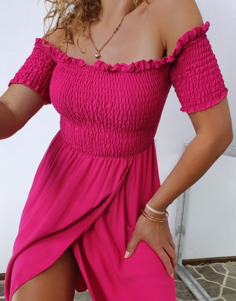 sukienka marszczona fuksja 2