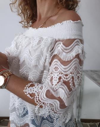 bluzka hiszpanka koronkowa