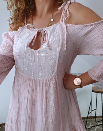 sukienka muślinowa jasny róż 5