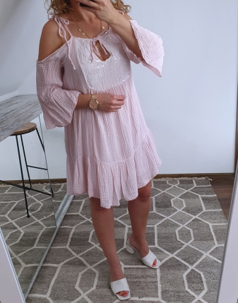 sukienka muślinowa jasny róż 7