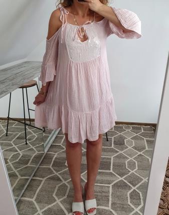 sukienka muślinowa jasny róż 9