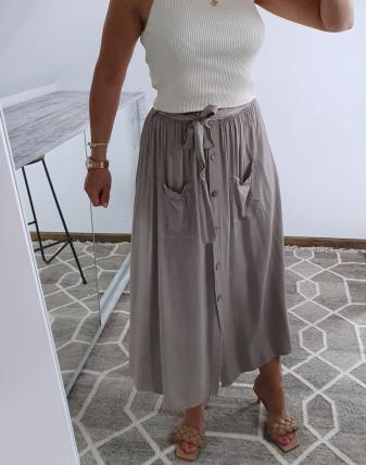 spódnica długa beż z guzikami