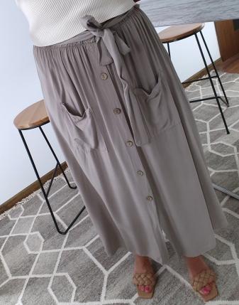 spódnica długa beż z guzikami 1