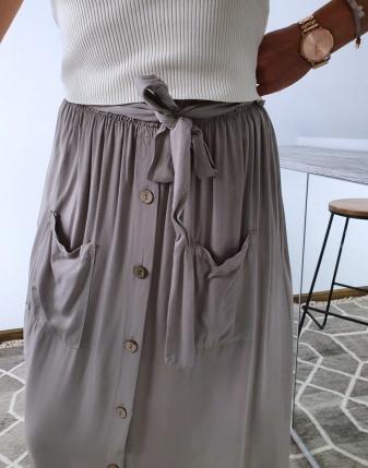 spódnica długa beż z guzikami 3