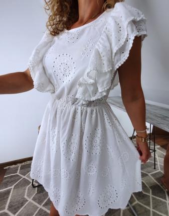 sukienka biała z falbanami
