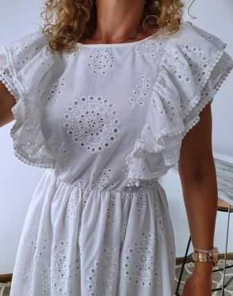 sukienka biała z falbanami 1