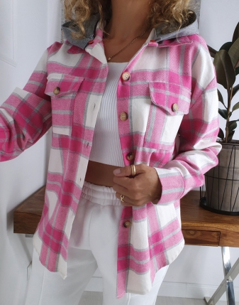 koszula w kratę flanelowa różowa z kapturem lamaja butik 1