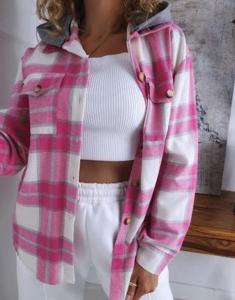koszula w kratę flanelowa różowa z kapturem lamaja butik 3
