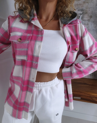 koszula w kratę flanelowa różowa z kapturem lamaja butik 5