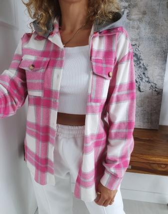 koszula w kratę flanelowa różowa z kapturem lamaja butik 8