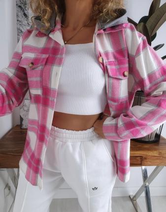 koszula w kratę flanelowa różowa z kapturem lamaja butik 9