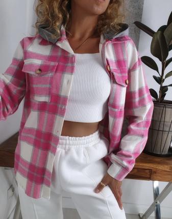 koszula w kratę flanelowa różowa z kapturem lamaja butik 10