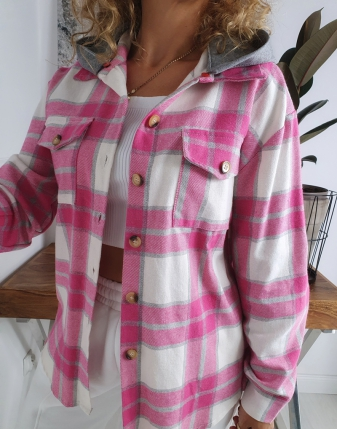 koszula w kratę flanelowa różowa z kapturem lamaja butik 11