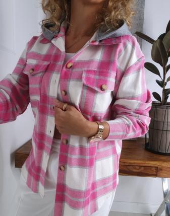 koszula w kratę flanelowa różowa z kapturem lamaja butik 12