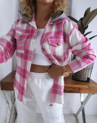 koszula w kratę flanelowa różowa z kapturem lamaja butik 13