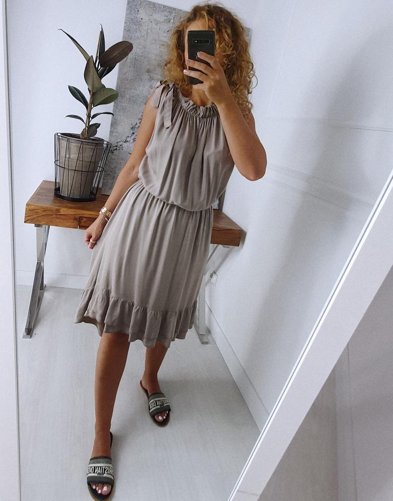 sukienka z falbaną szara 3