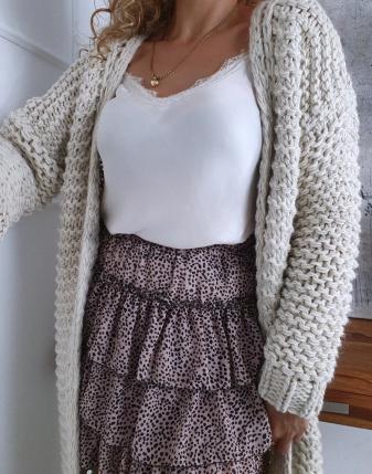 gruby sweter długi jasny  3