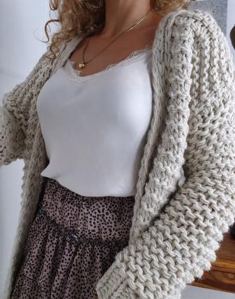 gruby sweter długi jasny  4
