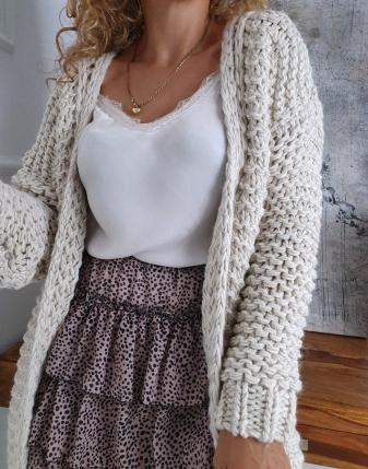 gruby sweter długi jasny  5