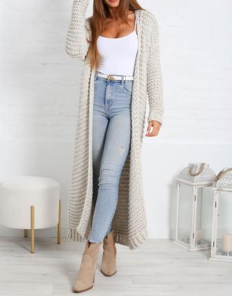gruby sweter długi jasny  7