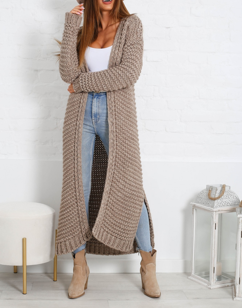 gruby sweter długi mokka