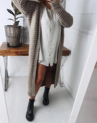 gruby sweter długi mokka 1