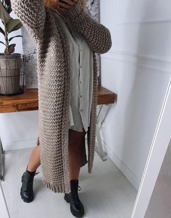 gruby sweter długi mokka 2