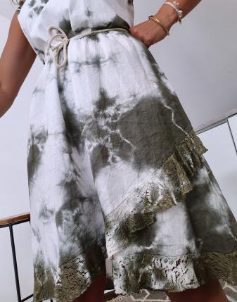 sukienka biało khaki