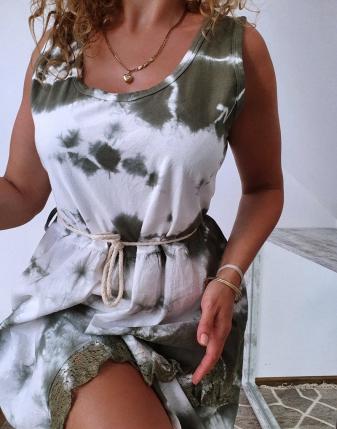 sukienka biało khaki 1