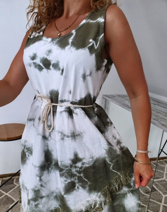 sukienka biało khaki 9