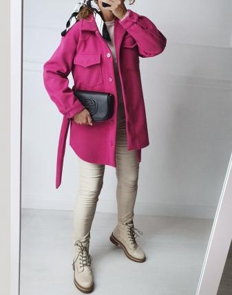 płaszczyk koszulowy różowy lamaja  1